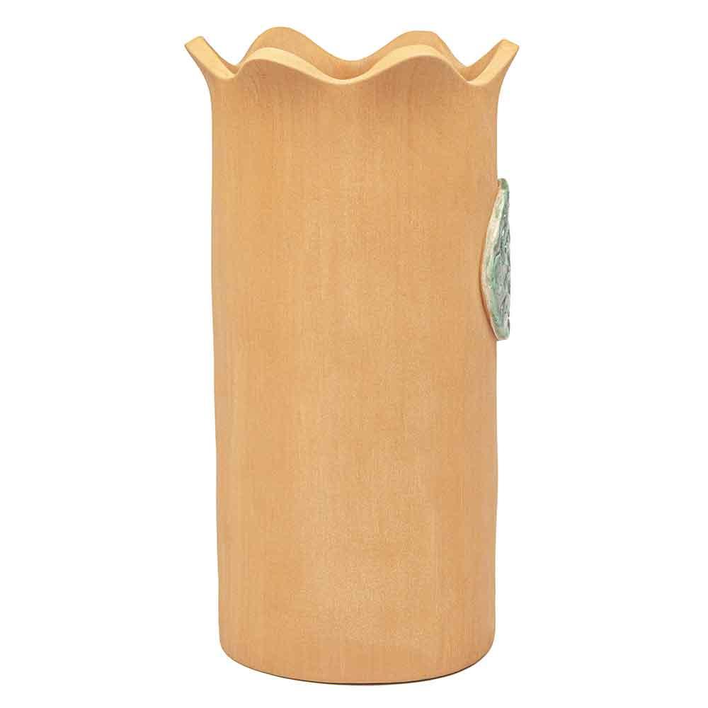 Kerámia borhűtő. Terrakotta, zöld mázas medál dísszel. NeoNoé kerámiaműhely