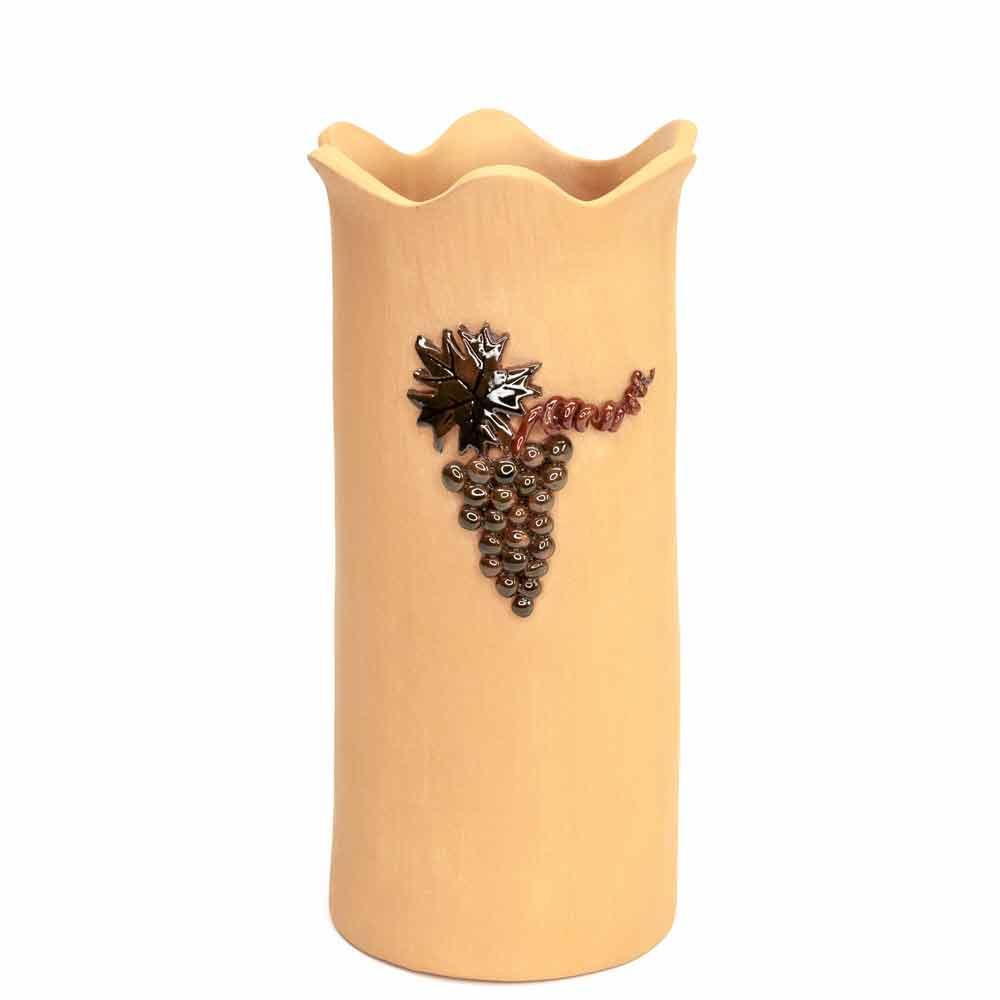 Kerámia borhűtő. Terrakotta borhűtő, mázas szőlőfürt díszítéssel. NeoNoé Kerámia